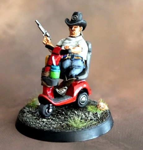 Zombie Hunter On Mobility Scooter Dragon Bait Miniatures